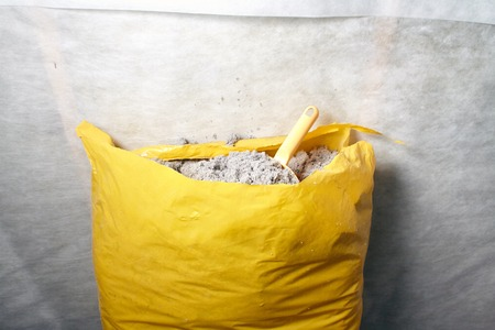 The ecologicaly clean cellulose insulation, insulation from recycled newsprint Stock Photo