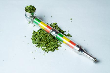 a bunch of dry medicinal cannabis marijuana intended for smoking for medical purposes rastafaray hippi Stock Photo