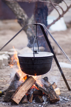 metal pot with a meal basking blured on burning firewood in the forest wildlife
