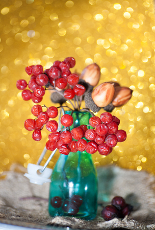 Ripe bunch of red viburnum on a beautiful bokeh background rustic style still life on a table Viburnum kalina red berries close up