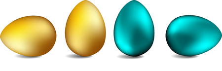 Set of realistic eggs on white background. Easter collection. Vector illustration Easter eggs Illusztráció