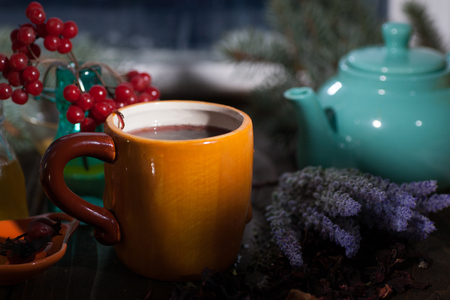 Medicinal vitamin herbal tea with lavender thyme and karkano rosemary hibiscus for slimming and health Stock Photo