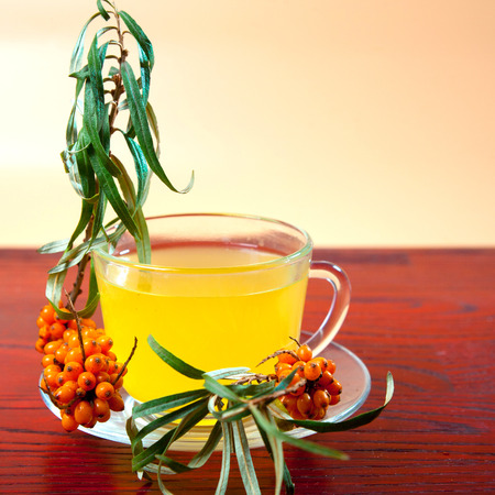 Tea made from sea buckthorn berries healthy for health delicious, saturated with vitamins surrounded by berries and sea buckthorn leaves and maintaining health in the body top view