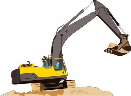 A large construction excavator of yellow color on the construction site in a quarry for quarrying isolate on white background. Vetores