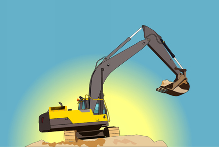 Realistic large excavator highly detailed vector illustration Illustration