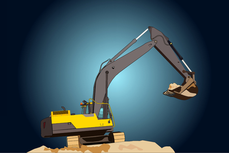 A large construction excavator of yellow color on the construction site in a quarry for quarrying Illustration