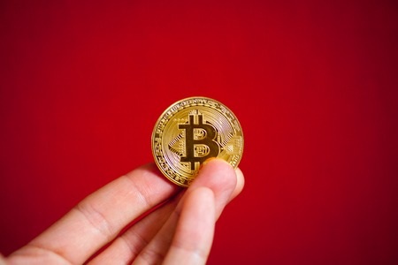 gold coin last bitcoin symbol of crypto currency and technology blockchain block chain bitcoin logo