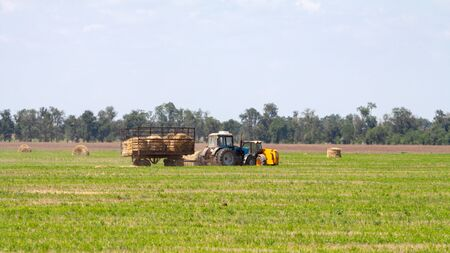 An agricultural tractor loader loads bales of hay into a tractor trailer on the field 写真素材