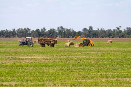 An agricultural tractor loader loads bales of hay into a tractor trailer on the field
