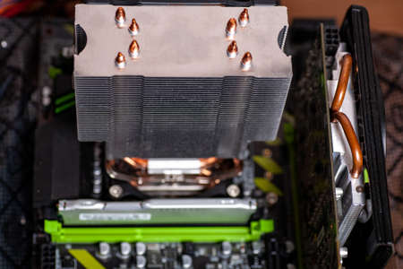 Computer electronic circuit board motherboard technology. Internal parts of the computer. Home farm for mining cryptocurrency.