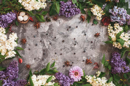 Texture background with bright flowers of lilac for the cover of the notebook diary or congratulations on the womans holiday Standard-Bild
