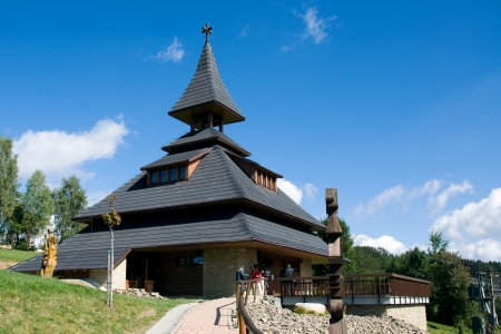 bilding: New modern belfry on the hill Solan, Moravian Beskydy Mountains, was built in 2006 and now is inside the galery with the information Center of Beskid, Czech Republic