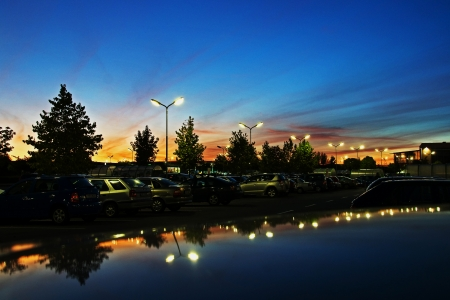 olomouc: Evening in the parking lot at the supermarket, Olomouc, Czech Republic Stock Photo