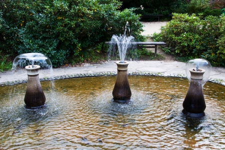 Little decorative fountains on the spa promenade Losiny, Czech Republic   photo
