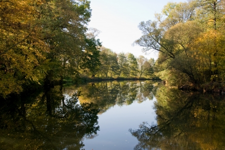 morava: A quiet stream of Morava river surrounded by beautiful fall colors