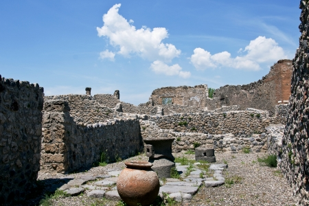 View of ruins of city Pompeii which was destroyed in 79 AD of nearby volcano Vesuvius  photo
