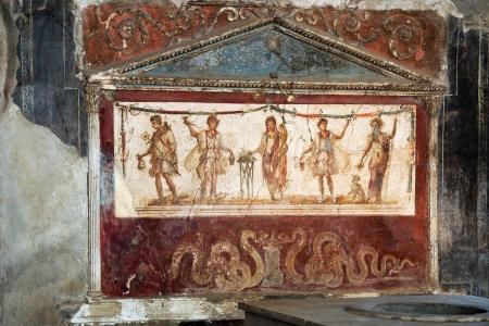 italian fresco: View of the fresco in ancient kitchen house in Pompei Italy  Stock Photo