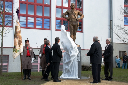 8 10 years: LITOVEL, CZECH REPUBLIC - NOVEMBER 8, 2013 - Unveiling the statue of Czech wrestler Gustav Frištenský known around the world who wrestled 40 years - 1889 to 1939 - and as a professional celebrated around 10,000 victory  Editorial