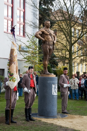 8 10 years: LITOVEL, CZECH REPUBLIC - NOVEMBER 8 2013 - Unveiling the statue of Czech wrestler Gustav Frištenský known around the world who wrestled 40 years - 1889 to 1939 - and as a professional celebrated around 10,000 victory