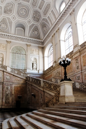 Stairs inside the Royal Palace in Naples, Italy