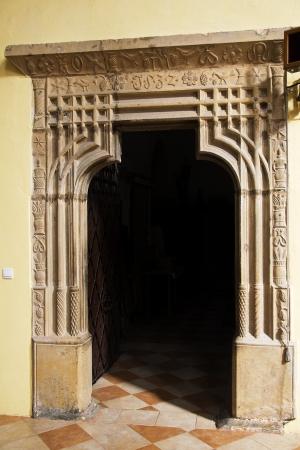 st  mark s: L'antico ingresso alla sacrestia di San Marco s in Litovel, creato nel 1532, Repubblica Ceca Archivio Fotografico