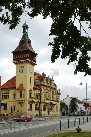 english famous: Town Hall in Napajedla, the city where is the famous stud farm, established in 1886, which behave mainly racehorses, English Thoroughbred, Moravia, Czech Republic