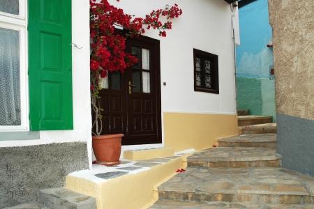 Beautiful narrow lane on the island of Samos, Greece     photo