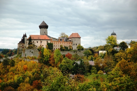 Sovinec Castle of the holy order of knights  in Northern Moravia in the autumn garb  photo
