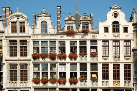 frontage: The beautiful frontage of the house on the square of Grand Place in Brussels, Belgium Editorial
