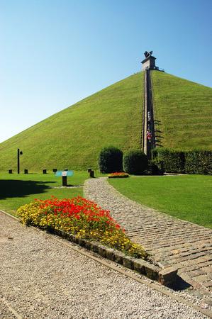 Lions Mound commemorates the Battle of Waterloo in 1815, Belgium Фото со стока