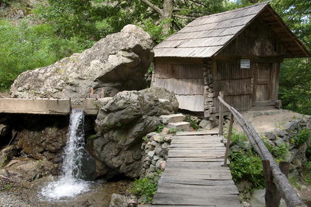 testimony: One of watermills, which are a testimony of the traditional technology in Banat, Romania Stock Photo