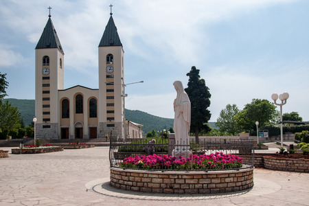 Pilgrimage church and Virgin Mary statue in Medjugorje, Bosnia and Herzegovina photo