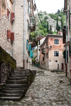 KOTOR, MONTENEGRO, MAY 15, 2010 - Narrow street  in old UNESCO town of Kotor