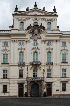 archbishop: PRAGUE, CZECH REPUBLIC, JUNE 21, 2014 - The Archbishop Palace at the entrance to the castle in Prague