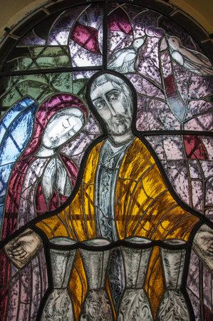 vetrate colorate: Nuovi moderne vetrate della chiesa in Litovel, Repubblica Ceca