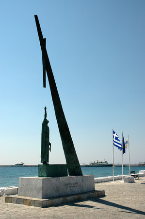 PYTHAGORION, GREECE, JUNE 19, 2005 - Statue of Pythagoras in Pythagorion on the Greek island Samos Editorial
