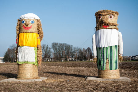 witty: LITOVEL, CZECH REPUBLIC, NOVEMBER 13, 2014 - Witty farmers built two figurines in the field after harvest