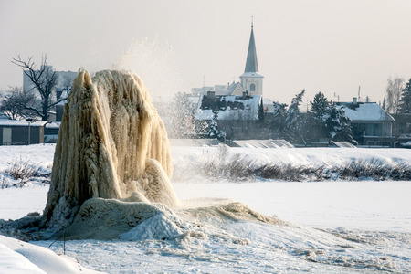 sludge: The sugar factory in Litovel, Czech Republic, discharges waste water into sludge fields and frost in winter created this geyser Stock Photo