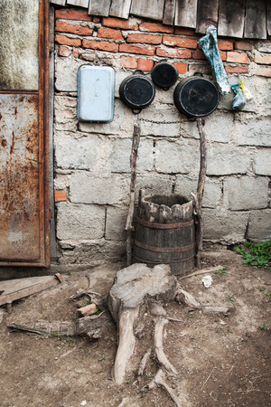 nook: Pots in the nook of the yard of one Romanian village