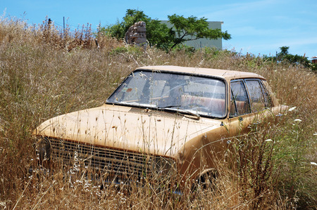 immobile: The abandoned and immobile car standing in the huge dry grass