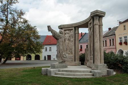 humanistic: Prerov CZECH REPUBLIC OCTOBER 07. 2009 Monument of Jan Blahoslav Czech humanistic writer poet and translator born in 1523 in Prerov