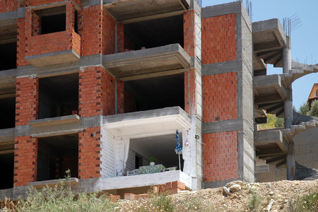 renter: Impatient Renter in unfinished building on the coast of the Turkish city of Kusadasi