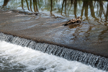 morava: Small weir on the river Morava near Litovel Czech Republic