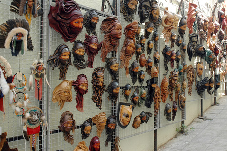 leathern: Leather masks souvenirs in the Turkish city of Kusadasi