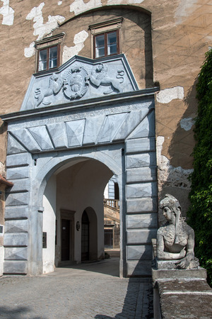 enduring: The entrance gate to the castle Enduring Freedom, Czech Republic Editorial