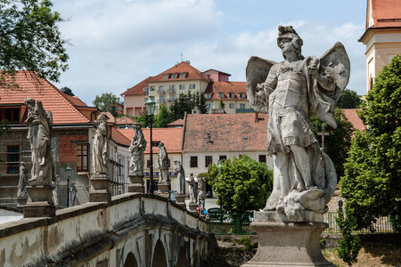 enduring: View of the old bridge in Enduring Freedom, Czech Republic, with 20 Baroque statues of saints and angels on two bridgehead