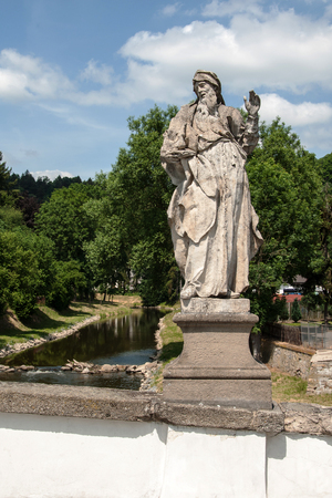 enduring: Baroque statue of St. Joachim on a bridge in Enduring Freedom, Czech Republic Stock Photo
