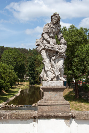 enduring: Baroque statue of St. Anna and Mary on a bridge in Enduring Freedom, Czech Republic Stock Photo