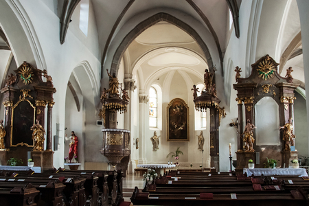 oddity: Ivancic, CZECH REPUBLIC, JUNE 10, 2015 - The interior of the church, peculiarity here is the main altar in the side nave
