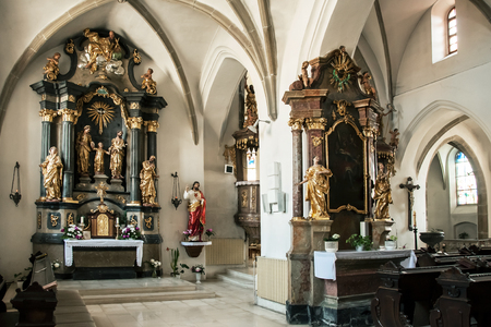 Ivancic, CZECH REPUBLIC, JUNE 10, 2015 - The interior of the church, peculiarity here is the main altar in the side nave